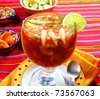 Cocktail of shrimps seafood mexican style chili sauce lemon - stock photo