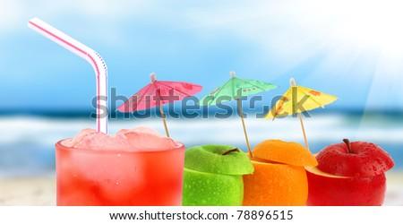Cocktail on a beach - stock photo
