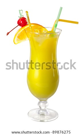 cocktail on white background - stock photo