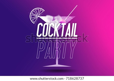 Cocktail Party Invite Illustration Pink Purple Illustration – Cocktail Party Invitation Template