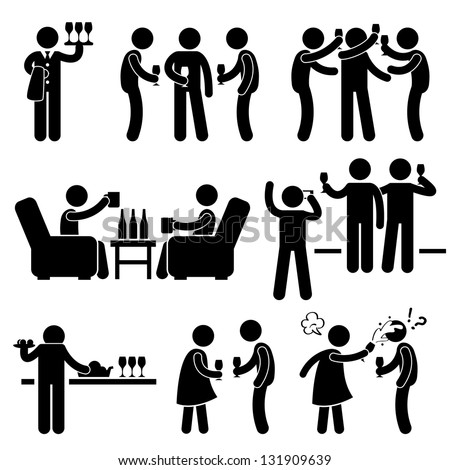 Cocktail Party People Man Friend Gathering Enjoying Wine Beer Stick Figure Pictogram Icon - stock photo