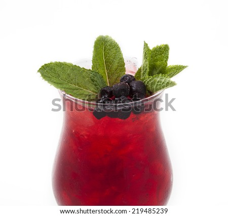 Cocktail photo in glasswares on a white background - stock photo