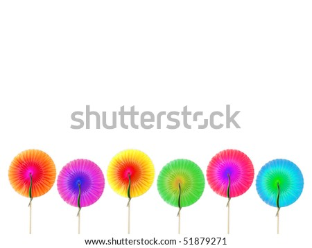 Cocktail round decorations made of colored paper isolated over white background - stock photo