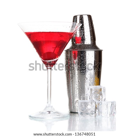 Cocktail shaker and cocktail isolated on white - stock photo