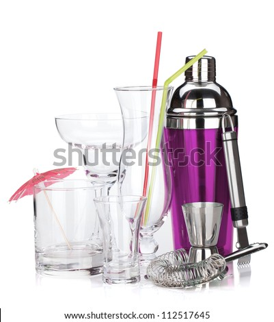 Cocktail shaker and glasses. Isolated on white background