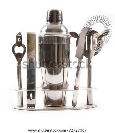 Cocktail shakers, strainer and jigger. Isolated on white background - stock photo