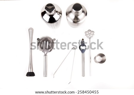 Cocktail shakers, strainer and jigger - Stock Image - stock photo