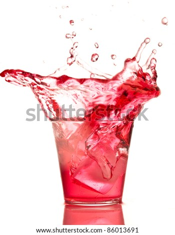 cocktail splash isolated on a white background