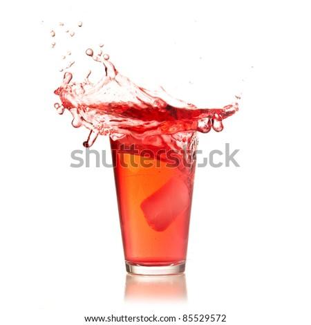 cocktail splash isolated on white background - stock photo