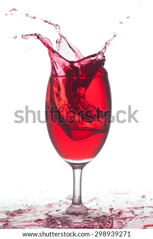 cocktail splashing isolated on a white background