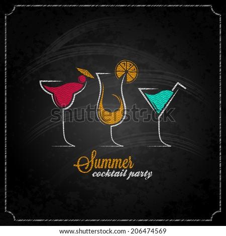 cocktail summer party chalk design menu background illustration - stock photo