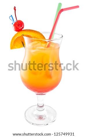 Cocktail tequila sunrise isolated on white background - stock photo