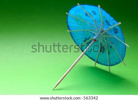 cocktail umbrella - blue #3 - stock photo