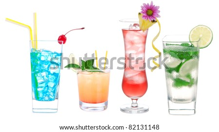 Cocktail variation row with alcohol, vodka, margarita, mojito, martini isolated on white background