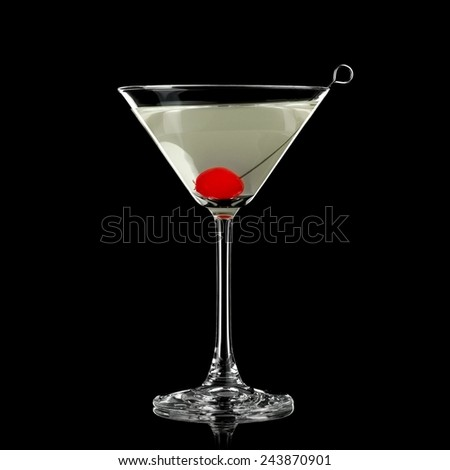 Cocktail with a cherry - stock photo