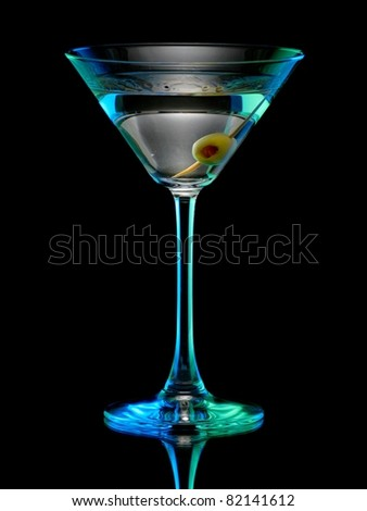 Cocktail with a olive - stock photo