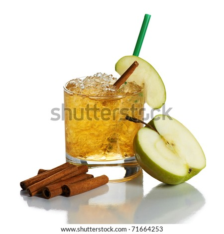 Cocktail with apple juice, ice, and cinnamon on white - stock photo