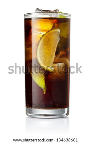 Cocktail with cola and limes slices isolated on white background - stock photo