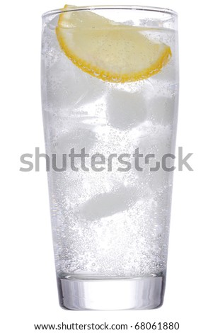 cocktail with gin and lemon with ice on white background - stock photo