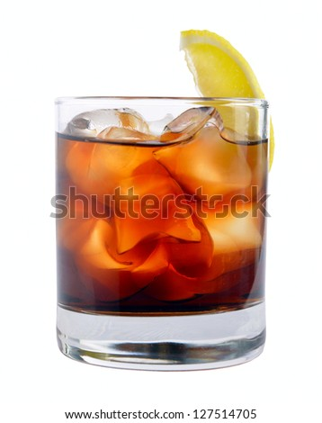 cocktail with ice cola whiskey on a white - stock photo