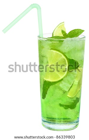 Cocktail with ice cubes on white background. - stock photo