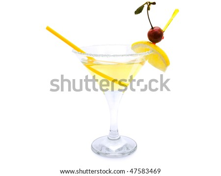 cocktail with lemon and cherry against white background - stock photo