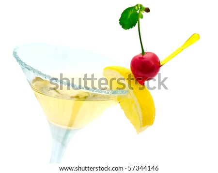 cocktail with lemon and cherry over white - stock photo