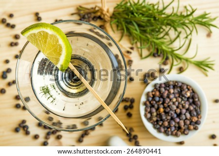 Cocktail with lemon slice - stock photo