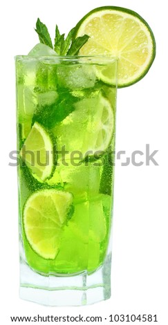 Cocktail with lime and mint on white background.