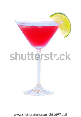cocktail with lime on white background. martini glass - stock photo