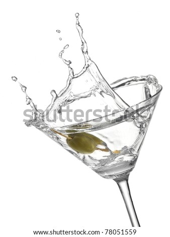 Cocktail with olive splash - stock photo