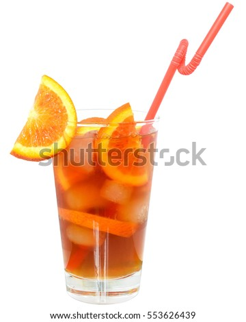 Cocktail with orange juice and ice cubes on white background.