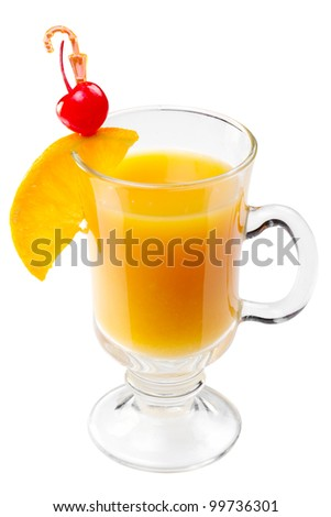 cocktail with orange juice slice and cherry in glass, isolated - stock photo