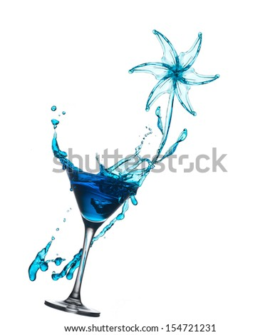 Cocktail with splash in form of flower - stock photo