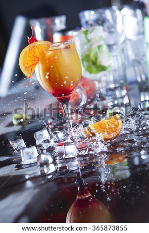 cocktail with splash, selective focus - stock photo