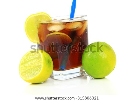 Cocktail with whisky, cola and fresh lime isolated on white background - stock photo
