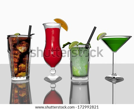 cocktails a 3d render - stock photo