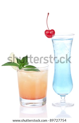 Cocktails alcohol drinks spirits margarita, martini, blue hawaiian with lemon, lime, cherry, mint in different cocktail glasses on a white background - stock photo