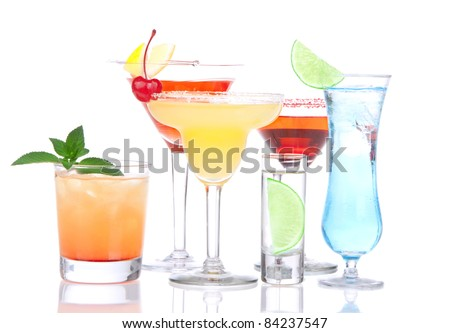 Cocktails alcohol drinks spirits mojito, mai tai, margarita, martini, shot of vodka, blue hawaiian with lemon, lime, cherry, mint in different cocktail glasses on a white background - stock photo