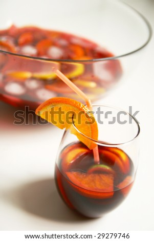 Cocktails and Fruit punch bowl - stock photo