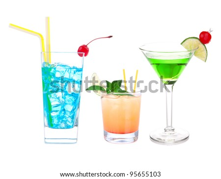 Cocktails Blue Hawaiian, Martini, Cosmopolitan, Mojito tropical cocktail drinks with alcohol vodka isolated on a white background