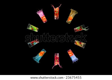 Cocktails bright tasty cold alcohol beverage - stock photo
