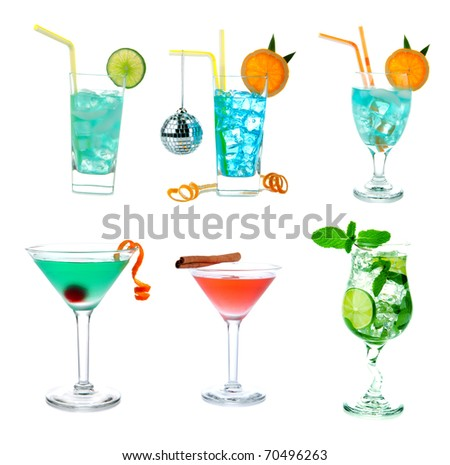 Cocktails collage collection. Blue Hawaiian Lagoon, Tropical Martini, Cosmopolitan, Mojito, Sex on the beach, Mai Tai cocktail drink isolated on a white background - stock photo