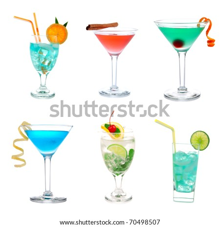 Cocktails collage collection. Blue Hawaiian Lagoon with curacao, Green and red Tropical Martini, Cosmopolitan, Mojito with mint cherry, Mai Tai cocktail drink isolated on a white background - stock photo