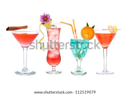 Cocktails collage collection. Blue Lagoon, Tropical Martini cocktail, red cosmopolitan, margarita, Mojito, tequila sunrise drink isolated on a white background - stock photo