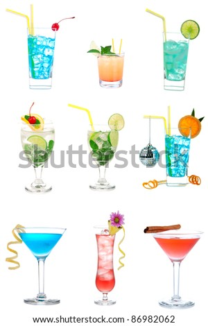 Cocktails collection collage Popular new  Blue Hawaiian, Martini, Cosmopolitan, Mojito tropical cocktail drinks with alcohol vodka isolated on a white background - stock photo