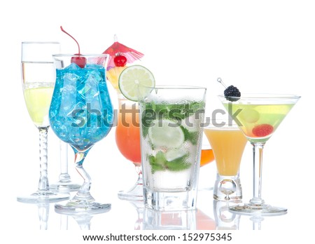 Cocktails drinks beverages Blue lagoon, mojito, tropical Martini, tequila sunrise, margarita, champagne and cognac glass, cocktail umbrella, cherry, lime and pineapple on white background - stock photo