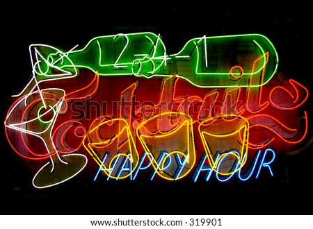 Cocktails, happy hour neon sign on black background - stock photo