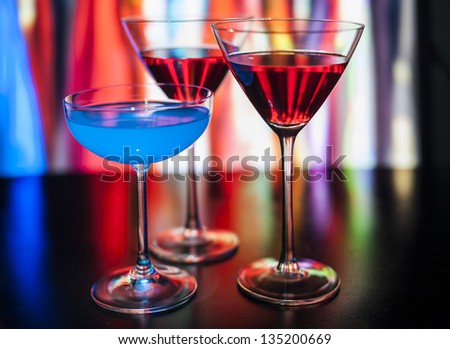 Cocktails in a pub - stock photo
