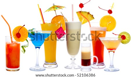 Cocktails isolated on white: Tequila Sunrise, Frozen Margarita, Screw-Driver, Pina Colada, B52, Malibu Punch, Daiquiri